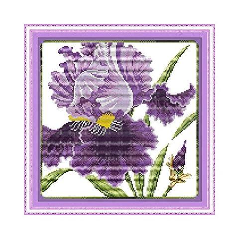 Anself DIY Handmade Needlework Counted Cross Stitch Set Embroidery Kit 14CT Purple Flowers Pattern Cross-Stitching 36 * 36cm Home