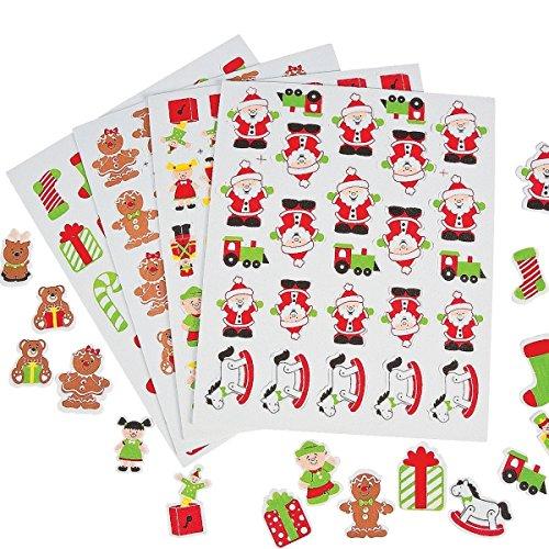 116 x Sticker Moosgummi Weihnachten Weihnachtsmann Schneemann Wichtel Aufkleber Nikolaus (Weihnachts Elfen Dekoration)