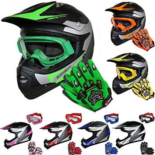 Leopard LEO-X19 *ECE 2205 Genehmigt* Kinder Motocrosshelme MX Motorradhelm Crosshelm Kinderquad Off Road Enduro Sport + Handschuhe + Brille | Grün M (51-52cm)