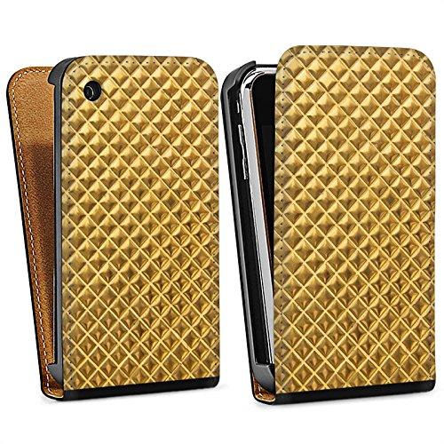 Apple iPhone 4 Housse Étui Silicone Coque Protection Rivets Or Motif Sac Downflip noir
