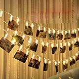 1.5M 10LED String Lights Battery Operated Card Picture Clips Photo Pegs Window Curtain Fairy String Lights for Festival Valentine/Xmas/Wedding/Party/Garden/Home/Living Room Decor,Battery not Included (A-Yellow)