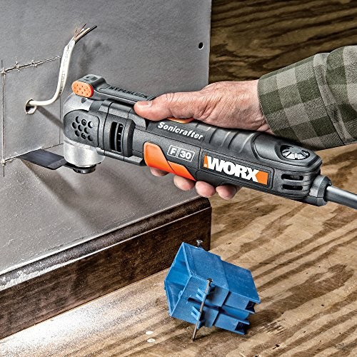 Great for cutting holes in plasterboard - WORX WX680 F30 350W Sonicrafter Multi-Tool Oscillating Tool with 29 Accessories