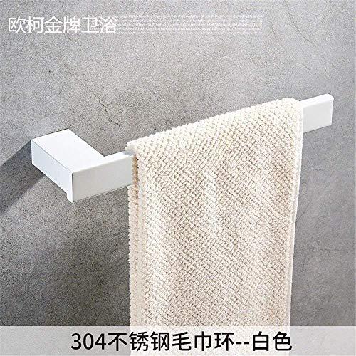 Willsego 304 Edelstahl WC Schwarz Bad Handtuchhalter Eingebautes Regal Kit Und Handtuchring Schwarz (Farbe : Towel Ring White) -
