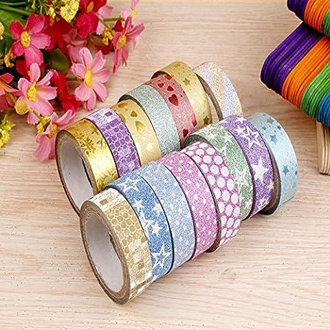 10pcs Glitter Motif Washi Tape Autocollant Adhésif Décoratif 1,5cmx3m + 1 Rouleau 10m Glitter
