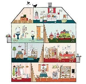 p120701 6 vliestapete kinder puppenhaus gezeichnet bunt. Black Bedroom Furniture Sets. Home Design Ideas