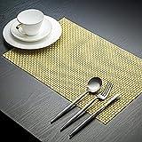 PVC Table Mats/Place Mats/Drawer Mats/Fridge Mats/Multipurpose Mats/Refrigerator Mats/Dinner Mats/Dinning Mats/Kitchen Place Mats, 30x45cm, 6 Piece Set-(Mettalic Gold)