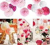 Ailiebhaus 20 Stück Seidenpapier Pompons Blumenball zum Aufhängen Hochzeit Party Nursery Dekoration (Pink)