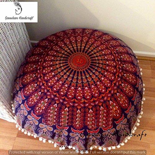 Indian Mandala Bohemian Tapestry, Decorative Round Mandala Pillow Throw, Boho Decor, Room Decor, Round Seating Pouf Ottoman, Mandala Floor Pillow, Meditation Cushion Cover, Handmade Pillow Cases (Kissenbezug Round)