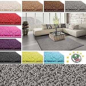 Tapis de salon shaggy poil long | 10 coloris au choix - cachet Blauer Engel | haute qualité | 200x290cm, gris