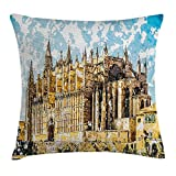 ZHIZIQIU Gothic Throw Pillow Cushion Cover, Big Gothic Building Sea Shore Cathedral of Palma De Mallorca View from Road, Decorative Square Accent Pillow Case, 18 X 18 Inches, Cream Blue White