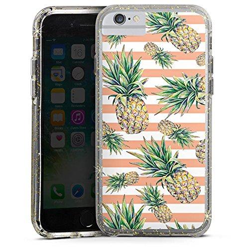 Apple iPhone 6 Bumper Hülle Bumper Case Glitzer Hülle Pineapple Ananas Fruits Bumper Case Glitzer gold