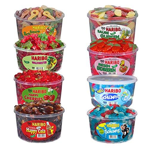 Haribo Mix de bonbons Schtroumpfs, fantômes à l'aspérule, cerises, bonbons acides au concombre, Happy Cola, Schtroumpfs acides, fraises géantes, 8 pots, 10,2 kg