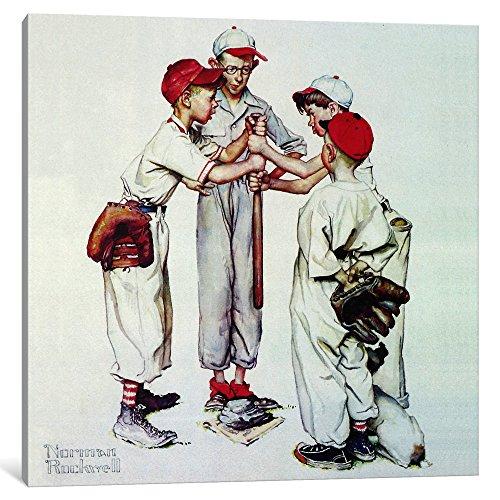 iCanvasART Auswahl bis 'Vier Sporting Jungen: Baseball' auf Leinwand, Print von Norman Rockwell, 0.75 x 12 x 12-inch -
