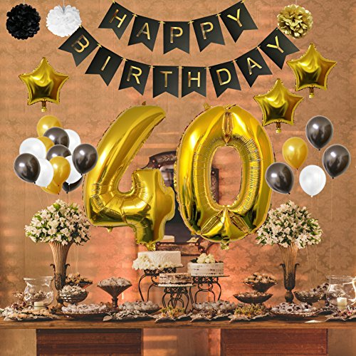 Globos Cumpleaños Happy Birthday #40 Suministros y Decoración por Belle Vous Set 32 Piezas Globo Grande Aluminio de 30 5cm 40 Años Globos De Látex Dorado Blanco y Negro Para Adultos