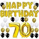 KUNGYO Letras Tipo Balón Doradas HAPPY BIRTHDAY+Número 70 Mylar Foil Globo+24 Piezas Negro Oro Blanco Globo de Látex- Perfecta 70 Años de Antigüedad Fiesta de Cumpleaños Decoraciones