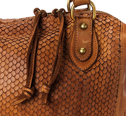 Ira del Valle, Borsa Donna, In Vera Pelle, Vintage, Modello Cheyenne, Made in Italy cognac