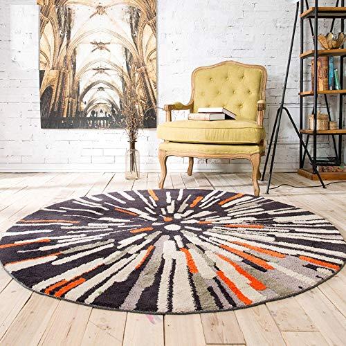 MU Home Wohnzimmer Eingang Nachttisch Teppich-Modetrend Retro Stärke 0.8Cm Nordic Rutschfester runder Teppich Wohnzimmer Schlafzimmer Schreibtisch Computer Stuhl Auflage Teppich,120CM - Schlafzimmer Traditionellen Schreibtisch
