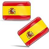 Biomar Labs® 2 pcs 3D Gel Pegatinas Bandera Nacional de España Spain Silicona Adhesivo Autos Coches Motos Ciclomotores Bicicl