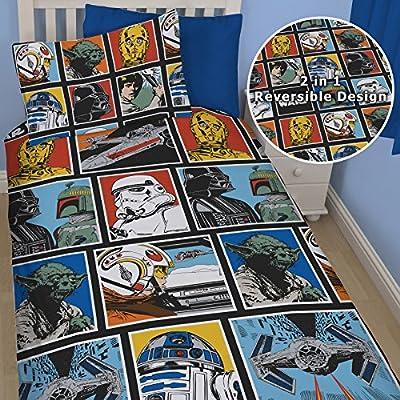New Official Star Wars Force Single Duvet Reversible Quilt Cover Kids Boys Rotary Bedding Set Reversible Duvet Pillow Cover Set (swf1) - cheap UK light store.
