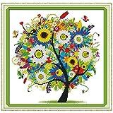 Anself DIY hecho a mano Costura puntada en cruz Kit Set bordado 14CT patrón del árbol Colorido punto de cruz 38 * 38cm la decoración del hogar