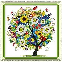 Anself Fai da te a mano Needlework contati Punto Croce Set ricamo Kit 14CT albero modello colorato punto croce 38 * 38 centimetri Home Decoration