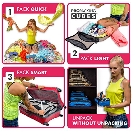 PRO Packing Cubes | 6 Piece Travel Packing Cube Value Set | 30% Space Saver Bags | Ultra Lightweight | Great for Duffel Bags, Carry on Luggage, and Backpacks (Pink)