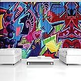 DekoShop Fototapete Vlies Tapete Moderne Wanddeko Wandtapete Buntes Abstraktes Graffiti AMD1508V8 V8 (368cm. x 254cm.)