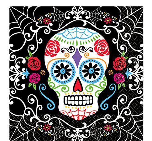 erdbeerloft - 16 Servietten Sugar Skull Totenfest Muerte 16,5 x 16,5 cm, (Sugar Skull Up Face Make)