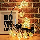 AtneP 16LED Rattan Balls String Lights For Home Decoration | Festival Decor Lights Diwali Christmas | Warm White