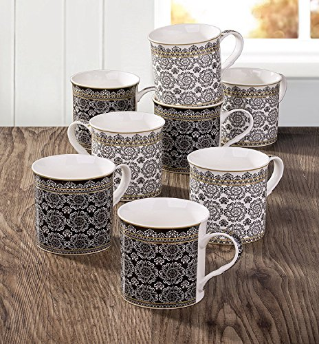 8-Piece-Black-White-Downton-Mug-Set