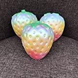 Lishy 1PC Rainbow Strawberry Squishy Stress Relief Toys Super Jumbo Scented Slow Rising Rare Fun Toy Gift