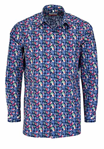 Marvelis Modern Fit Hemd Extra Langer Arm Blumenprint Blau Größe 44