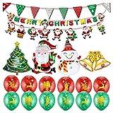 19 Stück Weihnachtsbaum Weihnachtsmann Schneemann Helium Folienballons, Xmas Party Dekoration Aufblasbare Luftballons,Dreieck Flaggen Ganlands,Frohe Weihnachten Wimpel Banner,12