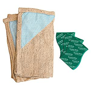 Scotch-Brite Floor Cleaning Cloth (Pack of 2) and Scrub Pad Large (Pack of 3)