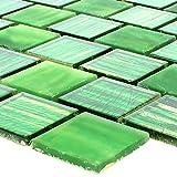 Glasmosaik Fliesen Lanzarote Grün Gestreift Schmal für Wandverkleidung Küchenrückwand Badezimmer Fliesenspiegel Duschwand Bad