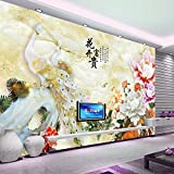 Y-Hui Living Room Wallpapers 3d Stereo Jade Carvings Peony Flowers Frescoes Walls Wallpapers Wallpapers Wallpapers Wallpapers Wallpapers,180cmX120cm