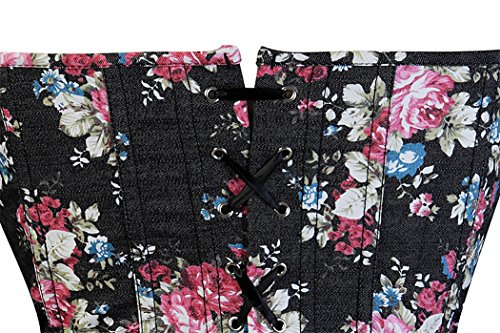 Women's Zipper Floral Cowboy Print Polyester Corsets Bustier with a G-string Schwarz