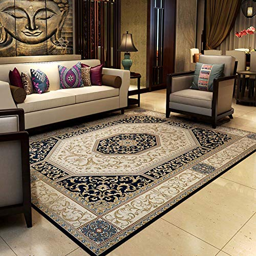 Carpet & rug fiore intagliato persiano oriental floormat tappeto tradizionale disegno del bordo geometrico 1 cm di pila rosso blu marrone grandi dimensioni: 160x230cm (5'3''x7'7 '')