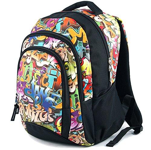 YeepSport Schulrucksack für Schule, Rucksack für Arbeit und Freizeit 30l, Jugendliche Mädchen und Jungs - 21811 Graffiti