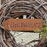 Schild aus Edelrost Lieblingsplatz
