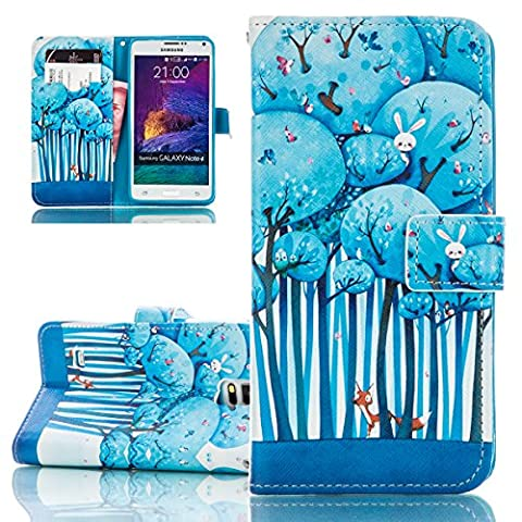 Samsung Galaxy Note 4 Case, ISAKEN Luxury Elegant Printing Drawing Design Pattern Case Galaxy Note 4 Magnetic Flip Protective case Executive Wallet Bool Style PU Leather Cover with Credit Card Holder slots - cartoon forest birds owl