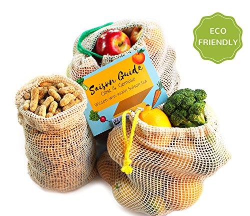 Extra stabile Obst- und Gemüsebeutel von EcoYou - 3er Set (S,M,L) Wiederverwendbare, plastikfreie Einkaufsnetze aus 100% Baumwolle inkl. Saisonkalender – Gemüsenetz und Brotbeutel (Kein Bund)