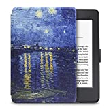 WALNEW Amazon Kindle Paperwhite Hülle, Leichteste und Dünnste Hochwertige Lederhülle für Kindle Paperwhite mit Automatischer Aufwach/Ruhe-Funktion,Blaue Nacht