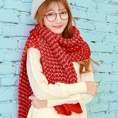 feieb Bavaglia sciarpa invernale coppie ma AEE maglia sciarpe a maglia coreana di spessore caldo a universale, uomini e donne rosso