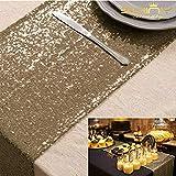 Shinybeauty 30 x 180 cm Copper à paillettes chemin de table Paillette métallique à paillettes chemin de pour fête de mariage dîner Service de réception, cas Banquet chemin de table, cuivré, 12x7