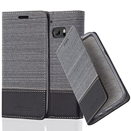 Cadorabo Hülle für HTC 10 - Hülle in GRAU SCHWARZ - Handyhülle mit Standfunktion & Kartenfach im Stoff Design - Case Cover Schutzhülle Etui Tasche Book
