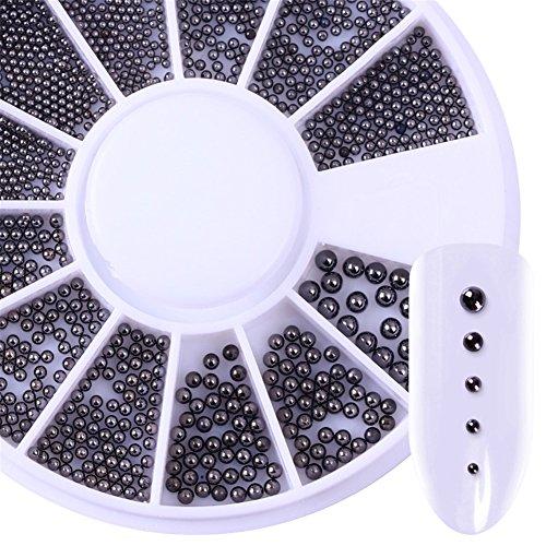NICOLE DIARY 1 Boîte Nail Perles Décors Mixte Tailles Mini Boules En Acier Inoxydable Perle Manucure 3D Nail Art Décoration en Roue