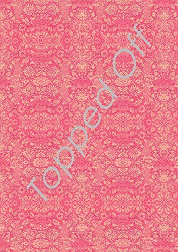 Shabby Chic–salmón rosa Floral Vintage–Hoja A4comestibles pastel Topper