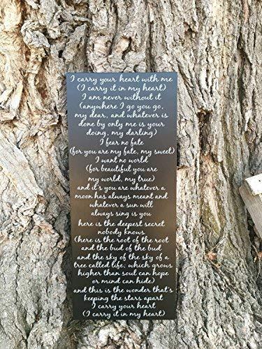 Zhaoshoping Gedicht I Carry Your Heart Schild I Carry It In My Heart by Ee Cummings Gedicht Poesie Kunst Gedicht für Mutter Wandkunst Holzschild für Wohnzimmer Schlafzimmer Dekoration