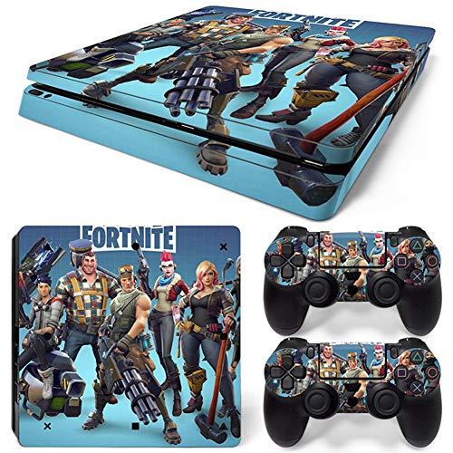 RemyCoo-PlayStation-4-Slim-Populaires-Fortnite-Battle-Royale-Autocollant-En-Peau-De-Couverture-pour-PS4-Slim-Console-2-Peaux-Pour-Contrleurs-PS4-Slim-Bleu-ciel
